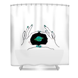 Hands Around Saturn Shower Curtain by Lucy Frost