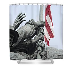 Hands Of Suribachi Shower Curtain by David Bearden