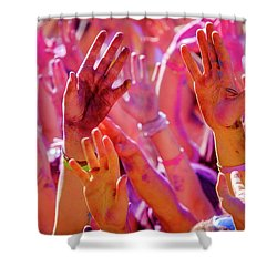 Shower Curtain featuring the photograph Hands Up-2 by Okan YILMAZ