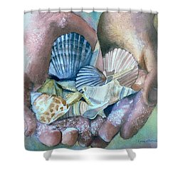 Hands With Shells Shower Curtain