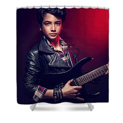 Handsome Guy With Guitar Shower Curtain