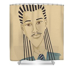 Handsome Young Man -- Stylized Portrait Of African-american Man Shower Curtain