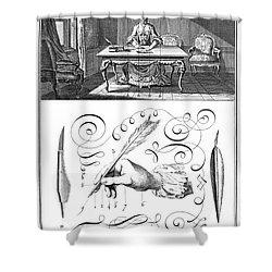 Handwriting, 18th Century Shower Curtain by Granger