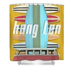 Shower Curtain featuring the digital art Hang Ten Surfboard Surfer Van by Edward Fielding