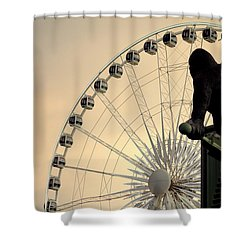Shower Curtain featuring the photograph Hanging On The Wheel by Valentino Visentini