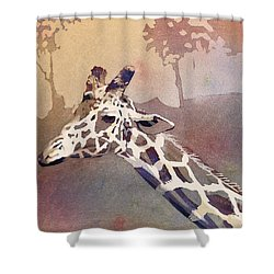 Shower Curtain featuring the painting Hanging Out- Giraffe by Ryan Fox