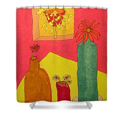 Hanging Plant And 3 On Table Shower Curtain