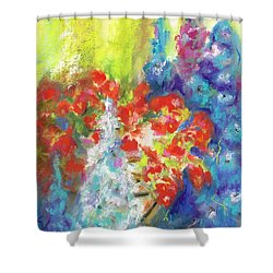 Shower Curtain featuring the painting Hanging With The Delphiniums  by Frances Marino