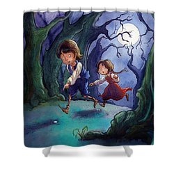 Hansel And Gretel Pebbles Shower Curtain by Andy Catling