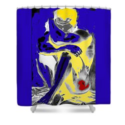 Original Contemporary Painting A Handsome Nude Man Shower Curtain by RjFxx at beautifullart com