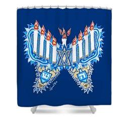 Hanukkah Butterfly Shower Curtain