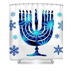 Shower Curtain featuring the digital art Hanukkah Greeting Card by Aurelio Zucco