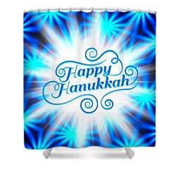 Shower Curtain featuring the digital art Hanukkah Greeting Card Iv by Aurelio Zucco