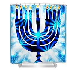 Hanukkah Greeting Card Ix Shower Curtain by Aurelio Zucco
