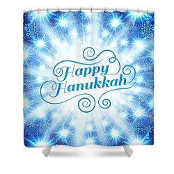 Shower Curtain featuring the digital art Hanukkah Greeting Card Viii by Aurelio Zucco