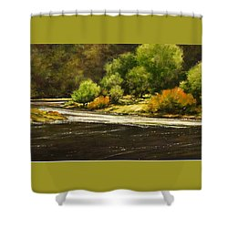 Lewis River Lagoon Shower Curtain