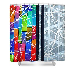 Happiness Against The Steel Shower Curtain by Jeremy Aiyadurai