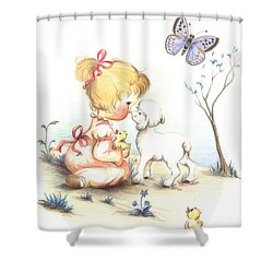 Shower Curtain featuring the drawing Happiness by Sorin Apostolescu