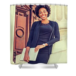 Happy African American College Student Shower Curtain
