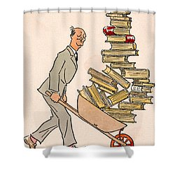 Shower Curtain featuring the drawing Happy Bibliophile 1930 by Padre Art
