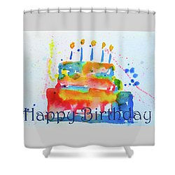 Shower Curtain featuring the painting Happy Birthday Blue Cake  by Claire Bull