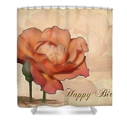 Happy Birthday Peach Rose Card Shower Curtain