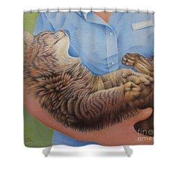 Happy Cat Shower Curtain by Pamela Clements