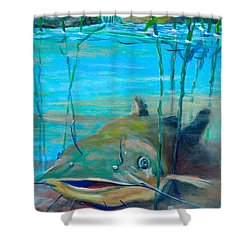 Happy Catfish Shower Curtain by Jeanette Jarmon
