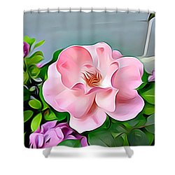 Shower Curtain featuring the digital art Happy Day by Lucia Sirna