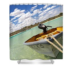 Shower Curtain featuring the photograph Happy Dinghy by T Brian Jones