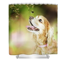 Happy Dog Outdoors Looking At Bee Shower Curtain