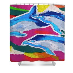 Happy Dolphin Dance Shower Curtain by Stephen Anderson