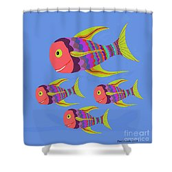 Happy Fashion Fish Shower Curtain by Fred Jinkins