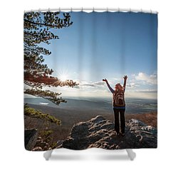 Happy Female Hiker At The Summit Of An Appalachian Mountain Shower Curtain