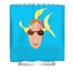 Happy Fish On Vacation Shower Curtain by Fred Jinkins