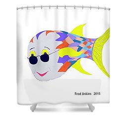 Happy Fish Touring Shower Curtain by Fred Jinkins