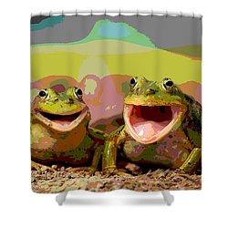 Shower Curtain featuring the mixed media Happy Frog by Charles Shoup