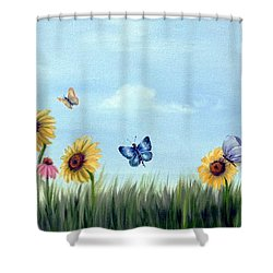 Shower Curtain featuring the painting Happy Garden by Carol Sweetwood