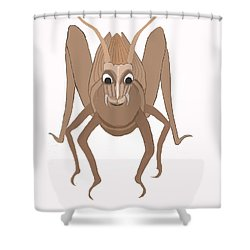 Happy Grasshopper Shower Curtain by Fred Jinkins