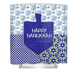 Happy Hanukkah Dreidel 1- Art By Linda Woods Shower Curtain