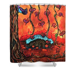 Cabin In The Woods Shower Curtain by Dani Abbott