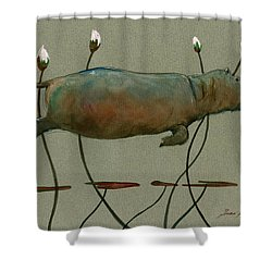 Happy Hippo Swimming Shower Curtain by Juan  Bosco