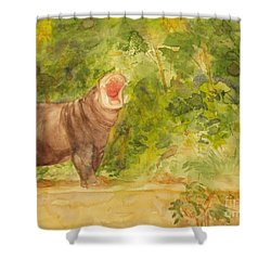 Happy Hippo Shower Curtain by Vicki  Housel
