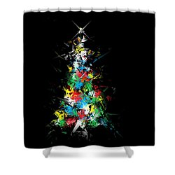 Happy Holidays - Abstract Tree - Horizontal Shower Curtain