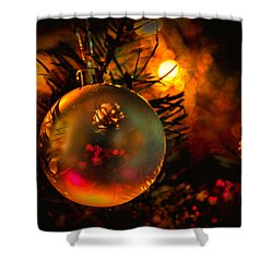 Happy Holidays Background Shower Curtain by Kevin Cable