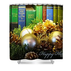 Happy Holidays Books Shower Curtain