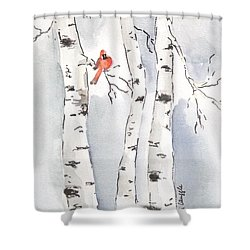 Shower Curtain featuring the painting Happy Holidays by Maria Langgle