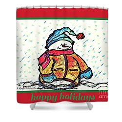 Happy Holidays Snowman Shower Curtain by MaryLee Parker
