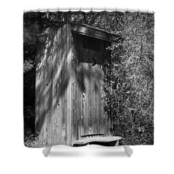 Happy Hollow Outhouse Shower Curtain