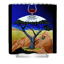 Shower Curtain featuring the painting Happy Hour At The Midreal Cypress by Paxton Mobley